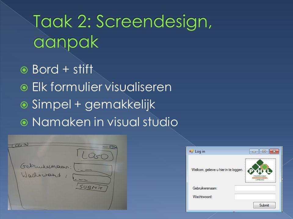  Bord + stift  Elk formulier visualiseren  Simpel + gemakkelijk  Namaken in visual studio