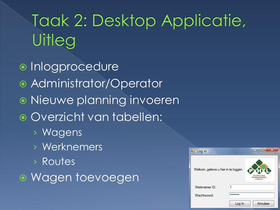  Inlogprocedure  Administrator/Operator  Nieuwe planning invoeren  Overzicht van tabellen: › Wagens › Werknemers › Routes  Wagen toevoegen