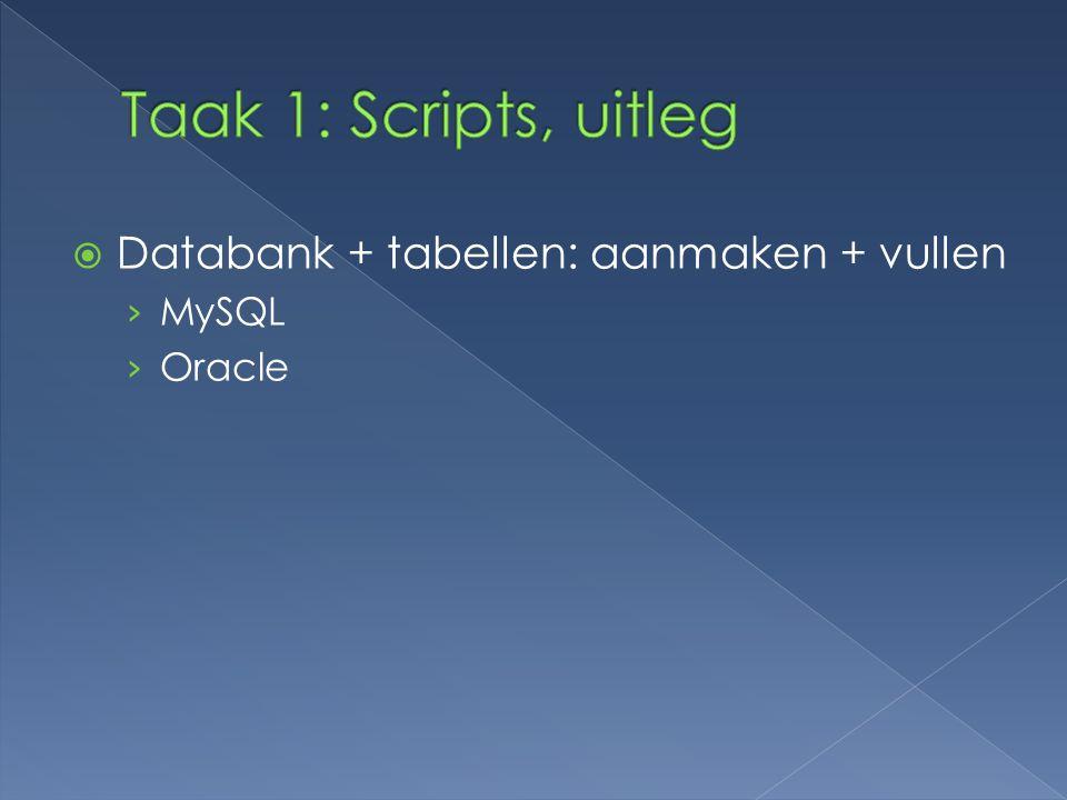  Databank + tabellen: aanmaken + vullen › MySQL › Oracle