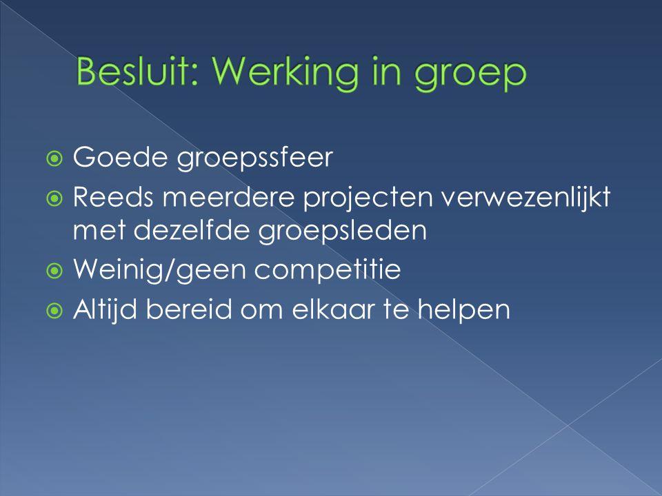  Goede groepssfeer  Reeds meerdere projecten verwezenlijkt met dezelfde groepsleden  Weinig/geen competitie  Altijd bereid om elkaar te helpen