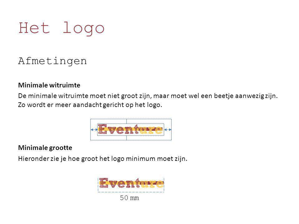 Het logo Afmetingen Minimale witruimte De minimale witruimte moet niet groot zijn, maar moet wel een beetje aanwezig zijn. Zo wordt er meer aandacht g