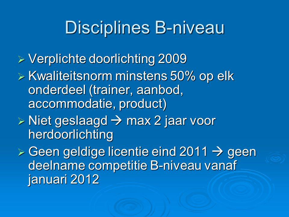 Disciplines B-niveau  Verplichte doorlichting 2009  Kwaliteitsnorm minstens 50% op elk onderdeel (trainer, aanbod, accommodatie, product)  Niet ges