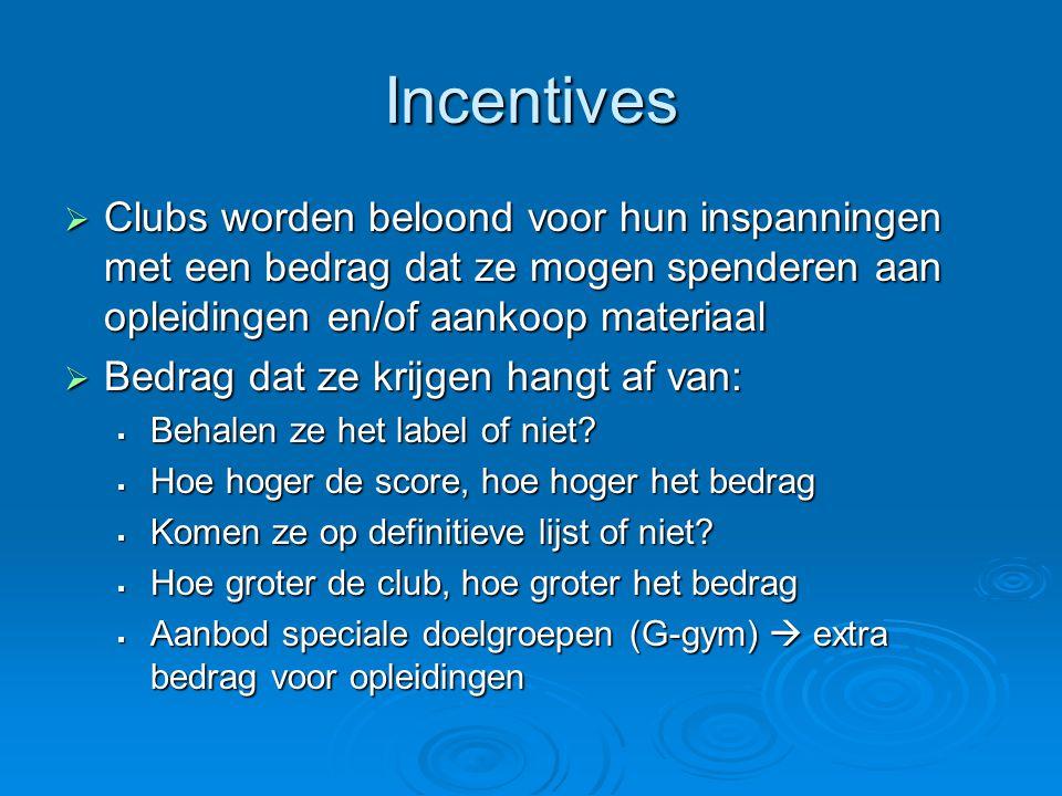 Incentives  Clubs worden beloond voor hun inspanningen met een bedrag dat ze mogen spenderen aan opleidingen en/of aankoop materiaal  Bedrag dat ze