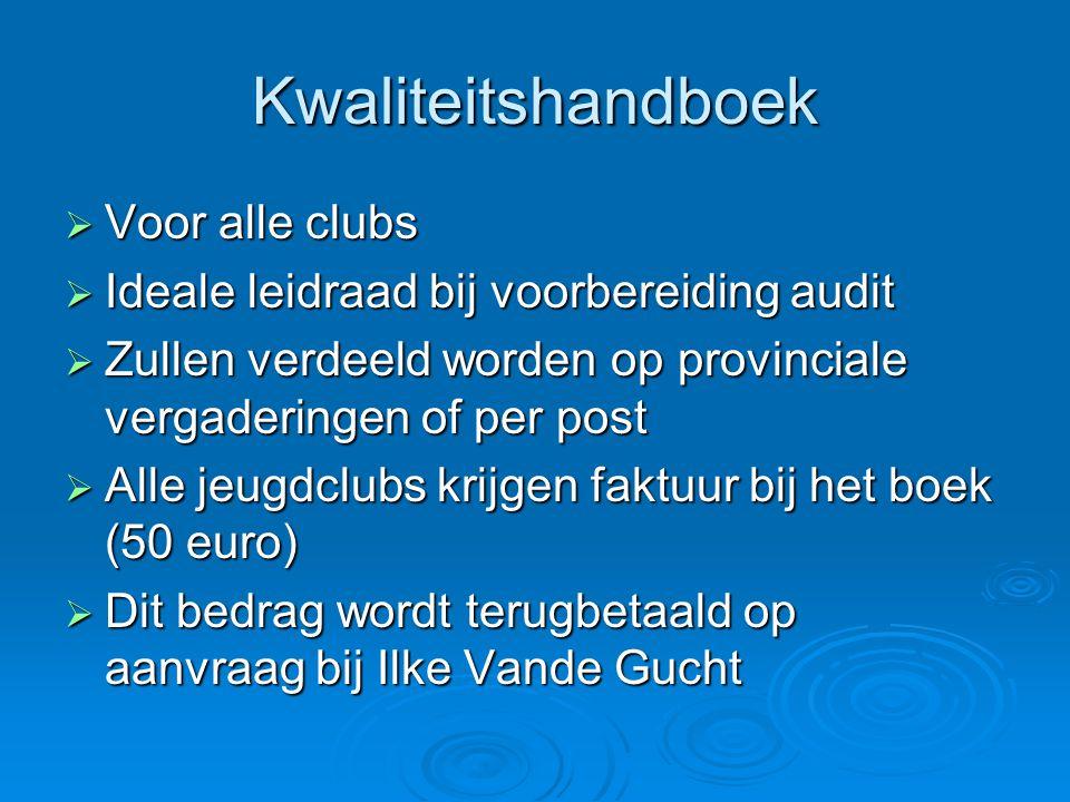 Kwaliteitshandboek  Voor alle clubs  Ideale leidraad bij voorbereiding audit  Zullen verdeeld worden op provinciale vergaderingen of per post  All