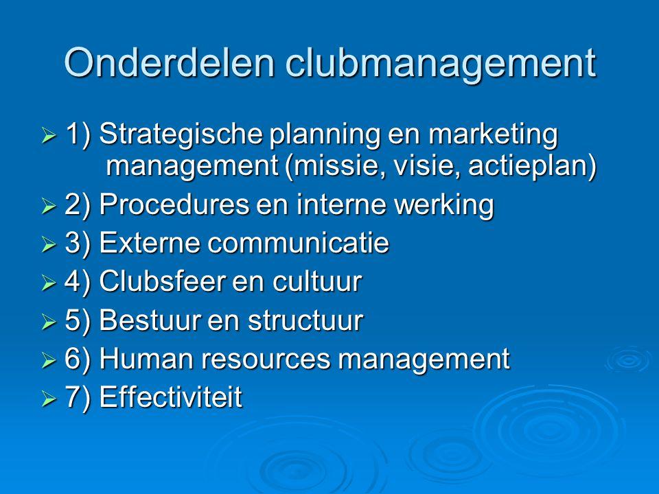 Onderdelen clubmanagement  1) Strategische planning en marketing management (missie, visie, actieplan)  2) Procedures en interne werking  3) Extern