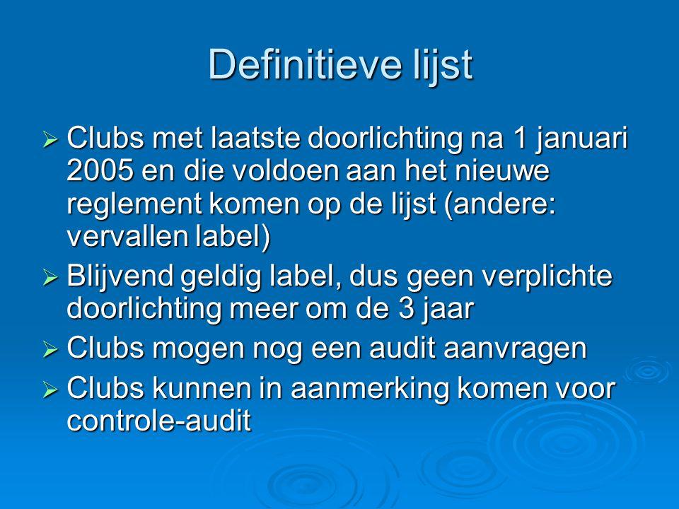 Definitieve lijst  Clubs met laatste doorlichting na 1 januari 2005 en die voldoen aan het nieuwe reglement komen op de lijst (andere: vervallen labe
