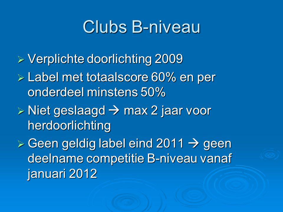 Clubs B-niveau  Verplichte doorlichting 2009  Label met totaalscore 60% en per onderdeel minstens 50%  Niet geslaagd  max 2 jaar voor herdoorlicht