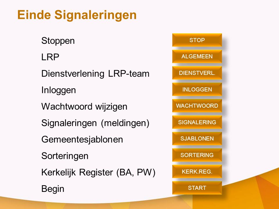 Stoppen LRP Dienstverlening LRP-team Inloggen Wachtwoord wijzigen Signaleringen (meldingen) Gemeentesjablonen Sorteringen Kerkelijk Register (BA, PW)