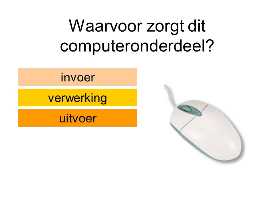 Waarvoor zorgt dit computeronderdeel? invoer verwerking uitvoer