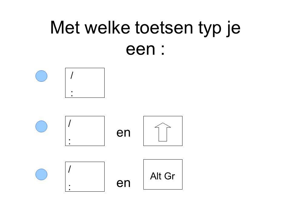 Met welke toetsen typ je een : en /:/: /:/: /:/: Alt Gr