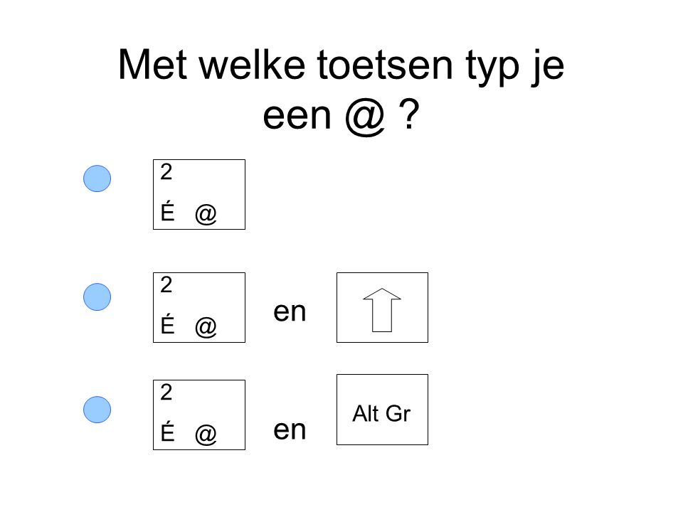 Met welke toetsen typ je een @ ? en 2 É @ Alt Gr 2 É @ 2 É @