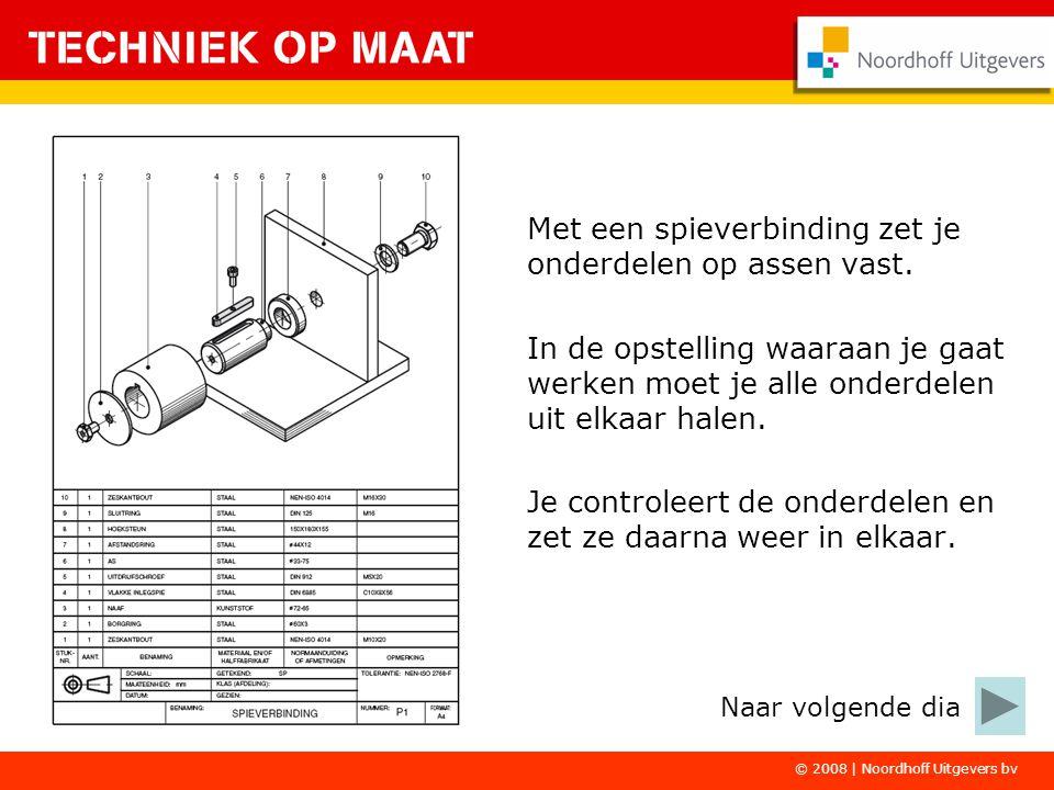 © 2008 | Noordhoff Uitgevers bv Het werken aan de spieverbinding moet erg nauwkeurig gebeuren.