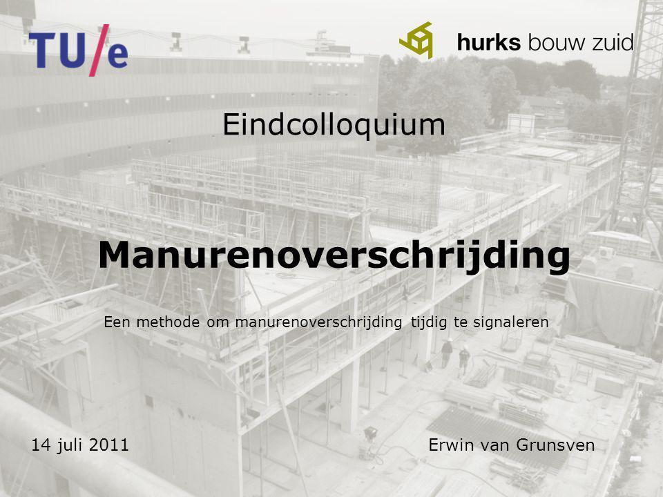 Eindcolloquium Manurenoverschrijding 14 juli 2011Erwin van Grunsven Een methode om manurenoverschrijding tijdig te signaleren
