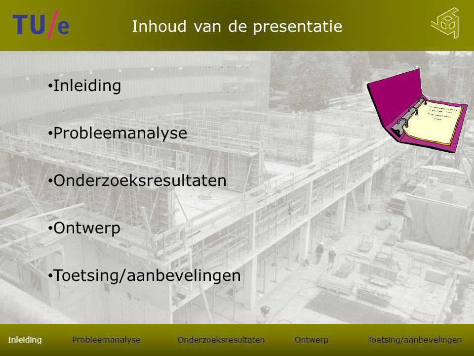 Inhoud van de presentatie Inleiding Probleemanalyse Onderzoeksresultaten Ontwerp Toetsing/aanbevelingen Inleiding Probleemanalyse Onderzoeksresultaten Ontwerp Toetsing/aanbevelingen