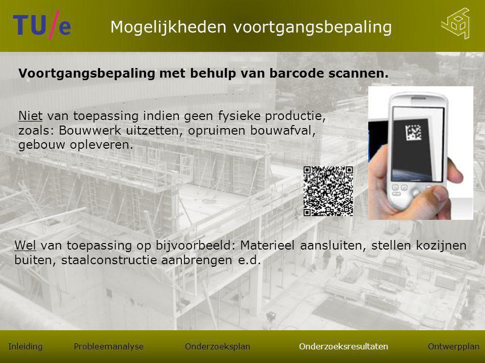 Mogelijkheden voortgangsbepaling Inleiding Probleemanalyse Onderzoeksplan Onderzoeksresultaten Ontwerpplan Voortgangsbepaling met behulp van barcode scannen.
