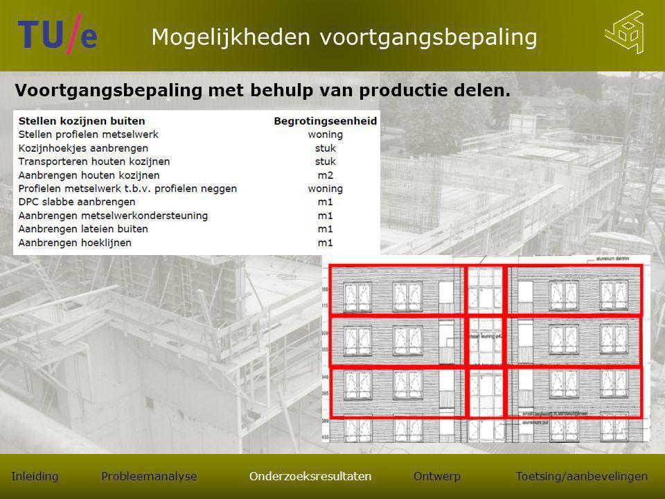 Mogelijkheden voortgangsbepaling Voortgangsbepaling met behulp van productie delen.