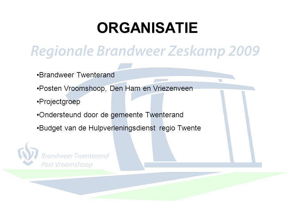 ORGANISATIE Brandweer Twenterand Posten Vroomshoop, Den Ham en Vriezenveen Projectgroep Ondersteund door de gemeente Twenterand Budget van de Hulpverl
