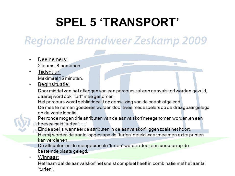 SPEL 5 'TRANSPORT' Deelnemers: 2 teams, 8 personen Tijdsduur: Maximaal 15 minuten. Beginsituatie: Door middel van het afleggen van een parcours zal ee