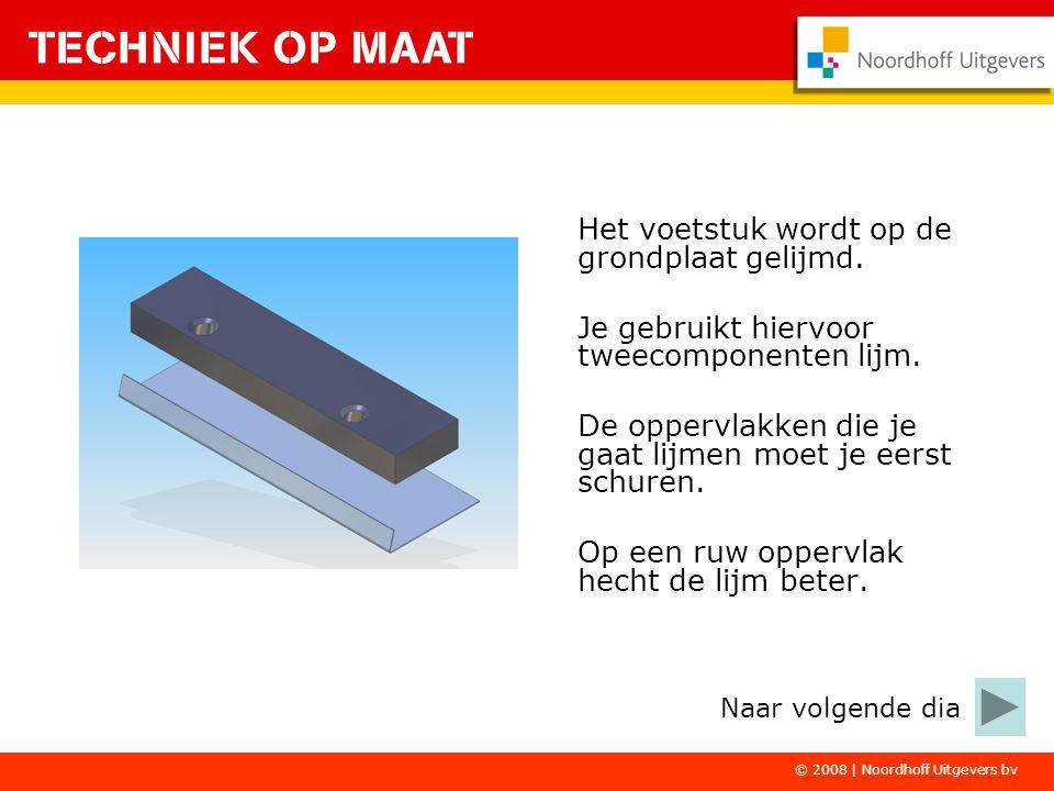 © 2008   Noordhoff Uitgevers bv De kunststof voet en de buizen worden aan elkaar gelast.