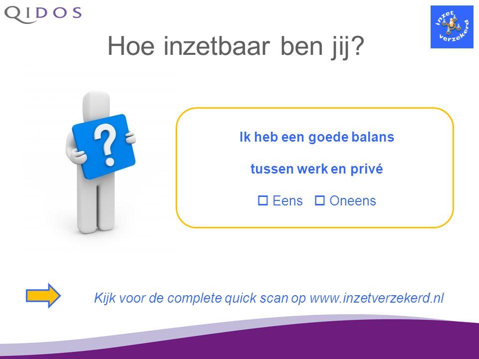 Hoe inzetbaar ben jij? Ik heb een goede balans tussen werk en privé  Eens  Oneens Kijk voor de complete quick scan op www.inzetverzekerd.nl