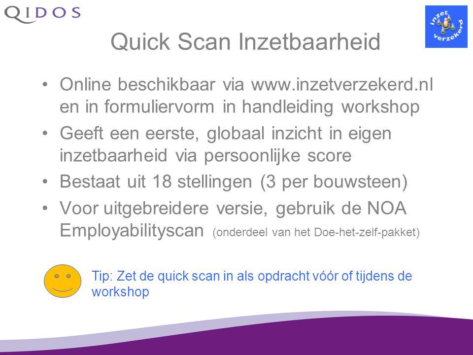 Quick Scan Inzetbaarheid Online beschikbaar via www.inzetverzekerd.nl en in formuliervorm in handleiding workshop Geeft een eerste, globaal inzicht in