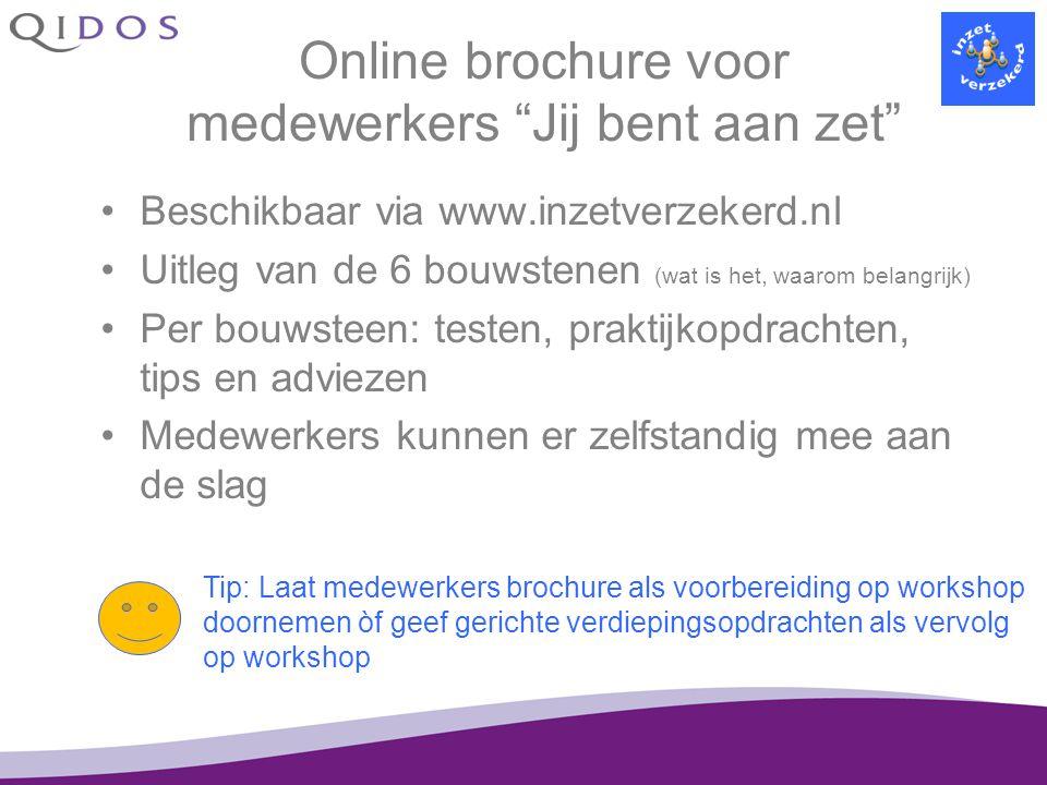 """Online brochure voor medewerkers """"Jij bent aan zet"""" Beschikbaar via www.inzetverzekerd.nl Uitleg van de 6 bouwstenen (wat is het, waarom belangrijk) P"""