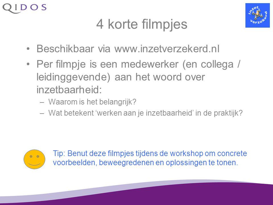 4 korte filmpjes Beschikbaar via www.inzetverzekerd.nl Per filmpje is een medewerker (en collega / leidinggevende) aan het woord over inzetbaarheid: –