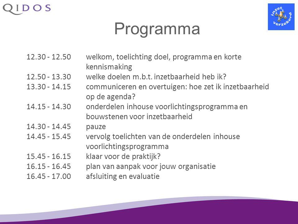 Programma 12.30 - 12.50welkom, toelichting doel, programma en korte kennismaking 12.50 - 13.30welke doelen m.b.t. inzetbaarheid heb ik? 13.30 - 14.15c