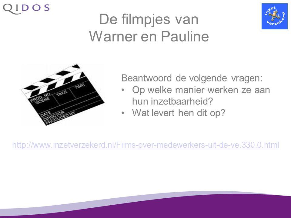 De filmpjes van Warner en Pauline http://www.inzetverzekerd.nl/Films-over-medewerkers-uit-de-ve.330.0.html Beantwoord de volgende vragen: Op welke man