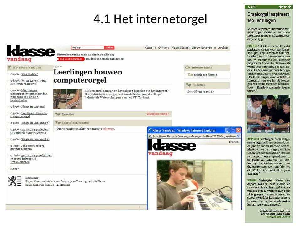 4.1 Het internetorgel