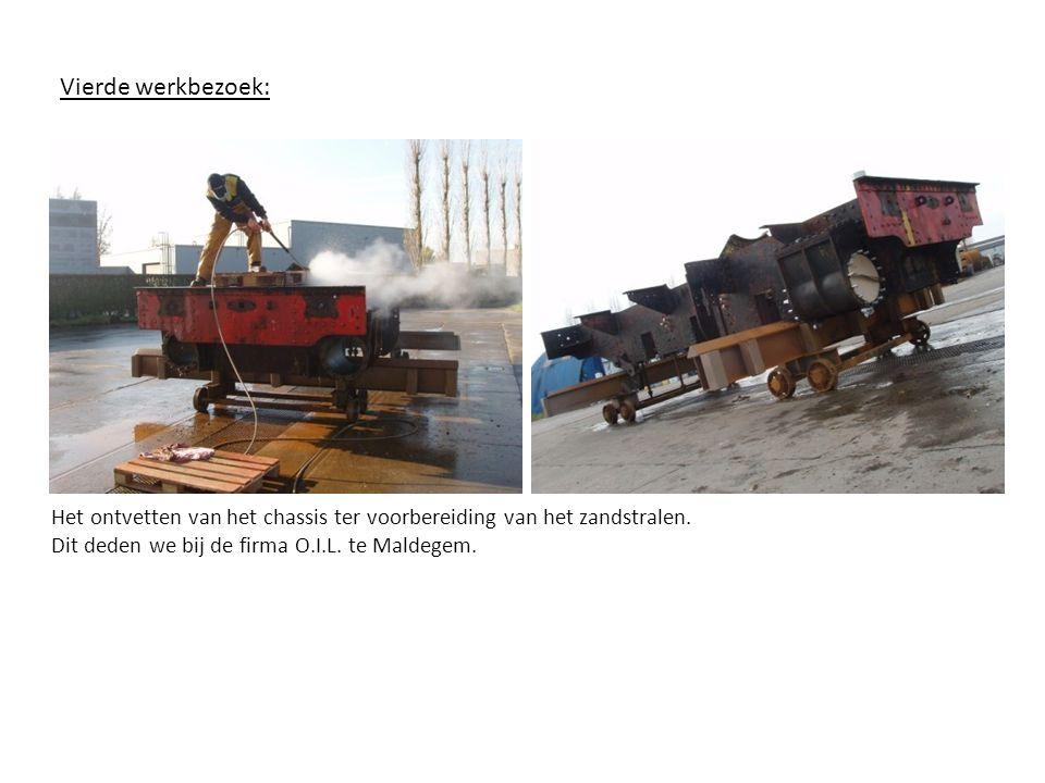 Vijfde werkbezoek: Het gezandstraalde chassisHet geschilderde chassis Schilderen van het chassis bij de firma O.I.L.