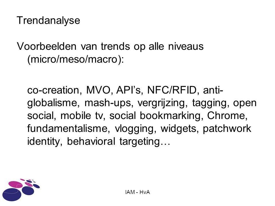 IAM - HvA Trendanalyse Voorbeelden van trends op alle niveaus (micro/meso/macro): co-creation, MVO, API's, NFC/RFID, anti- globalisme, mash-ups, vergr