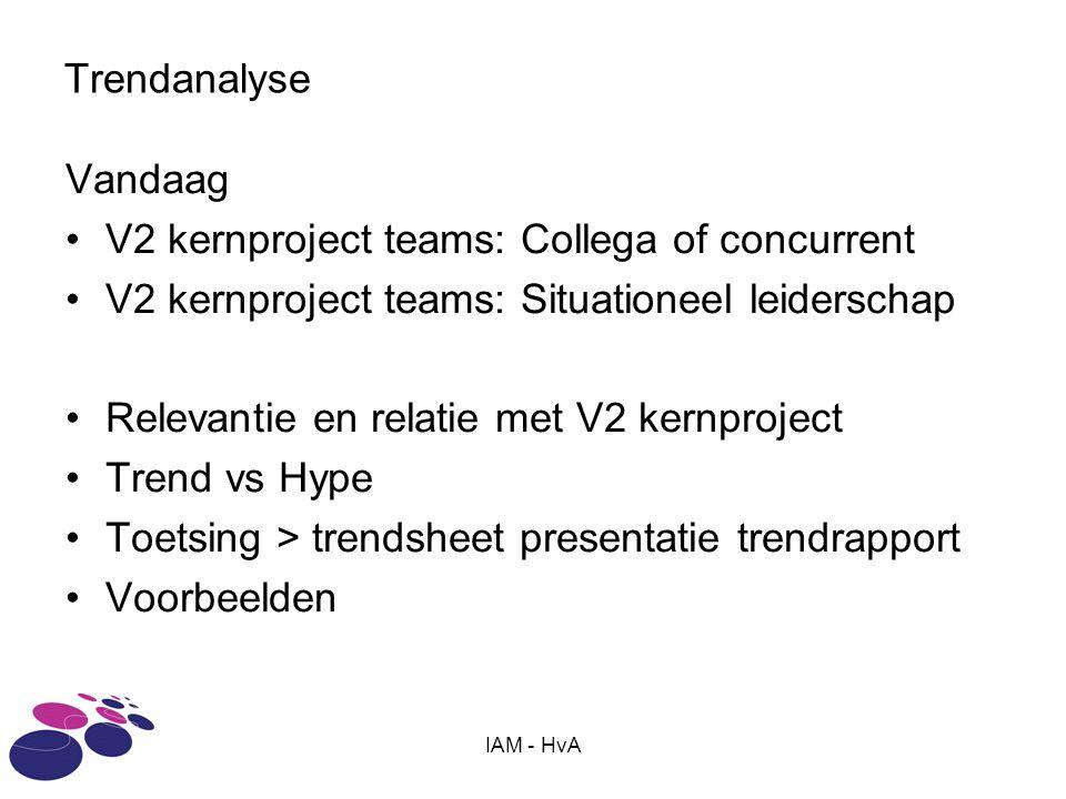IAM - HvA Trendanalyse Vandaag V2 kernproject teams: Collega of concurrent V2 kernproject teams: Situationeel leiderschap Relevantie en relatie met V2 kernproject Trend vs Hype Toetsing > trendsheet presentatie trendrapport Voorbeelden