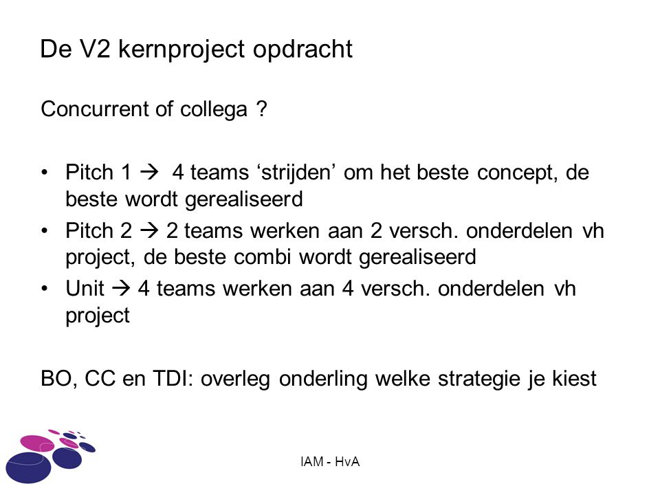 IAM - HvA De V2 kernproject opdracht Concurrent of collega ? Pitch 1  4 teams 'strijden' om het beste concept, de beste wordt gerealiseerd Pitch 2 