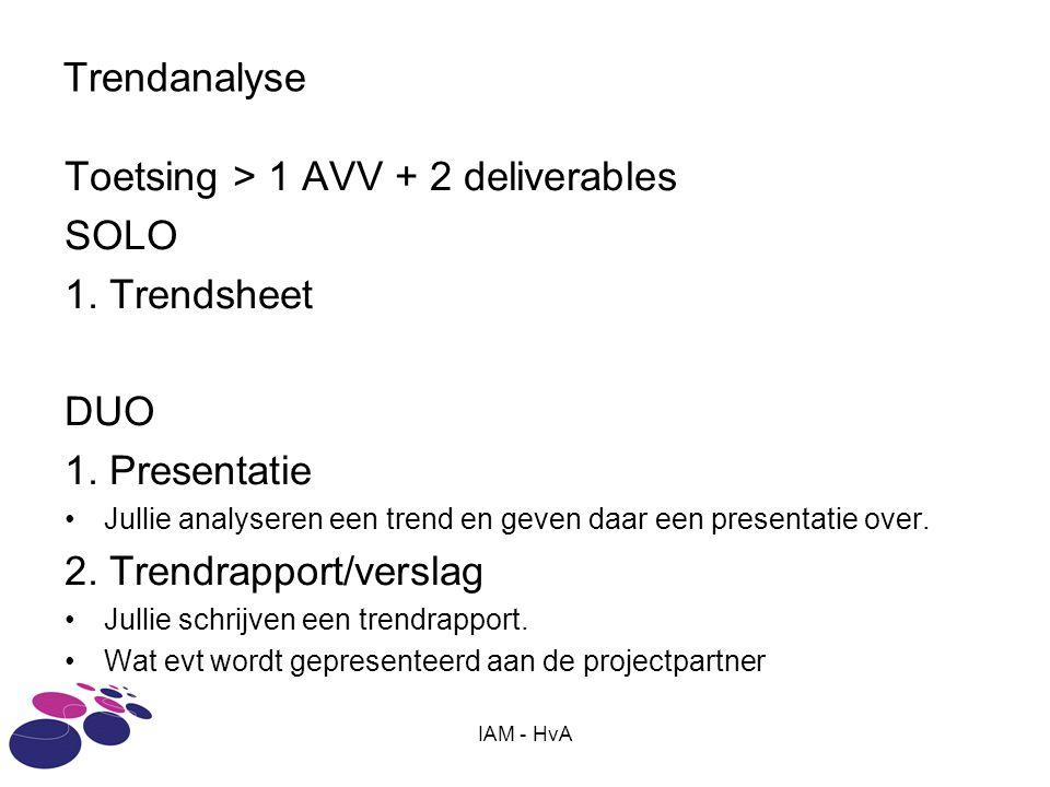 IAM - HvA Trendanalyse Toetsing > 1 AVV + 2 deliverables SOLO 1. Trendsheet DUO 1. Presentatie Jullie analyseren een trend en geven daar een presentat