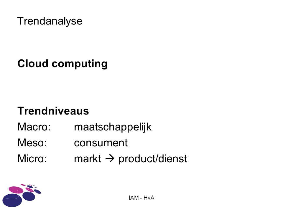 IAM - HvA Trendanalyse Cloud computing Trendniveaus Macro: maatschappelijk Meso: consument Micro: markt  product/dienst