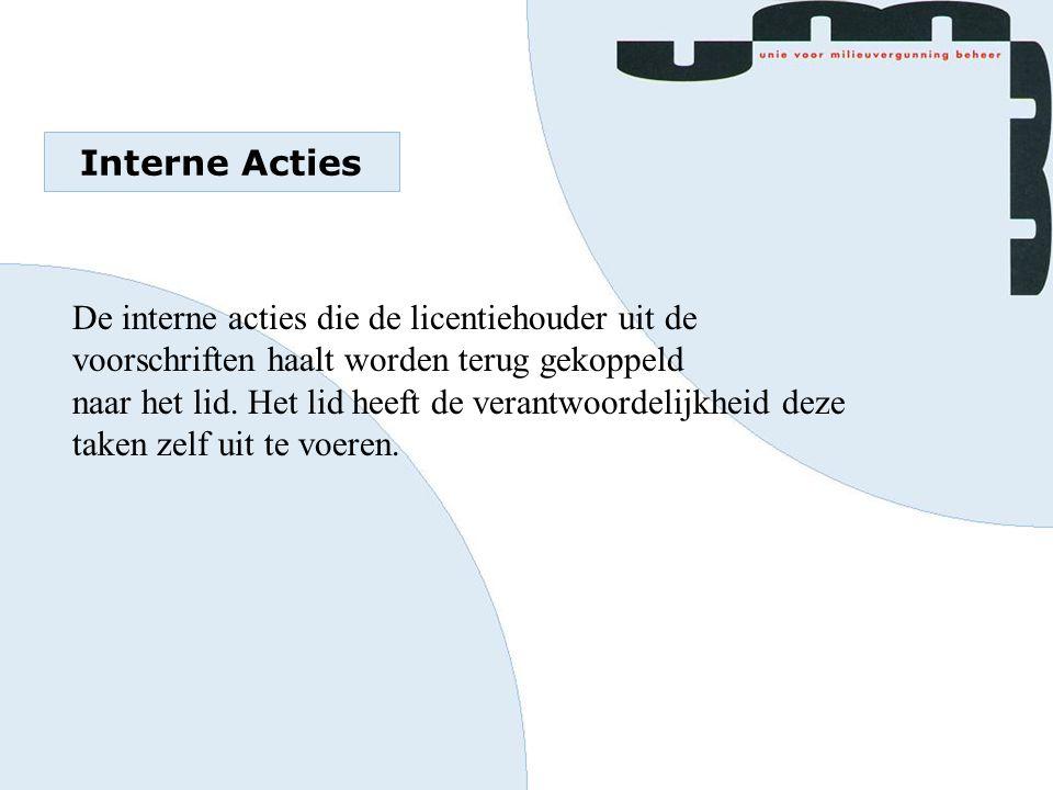 Interne Acties De interne acties die de licentiehouder uit de voorschriften haalt worden terug gekoppeld naar het lid. Het lid heeft de verantwoordeli