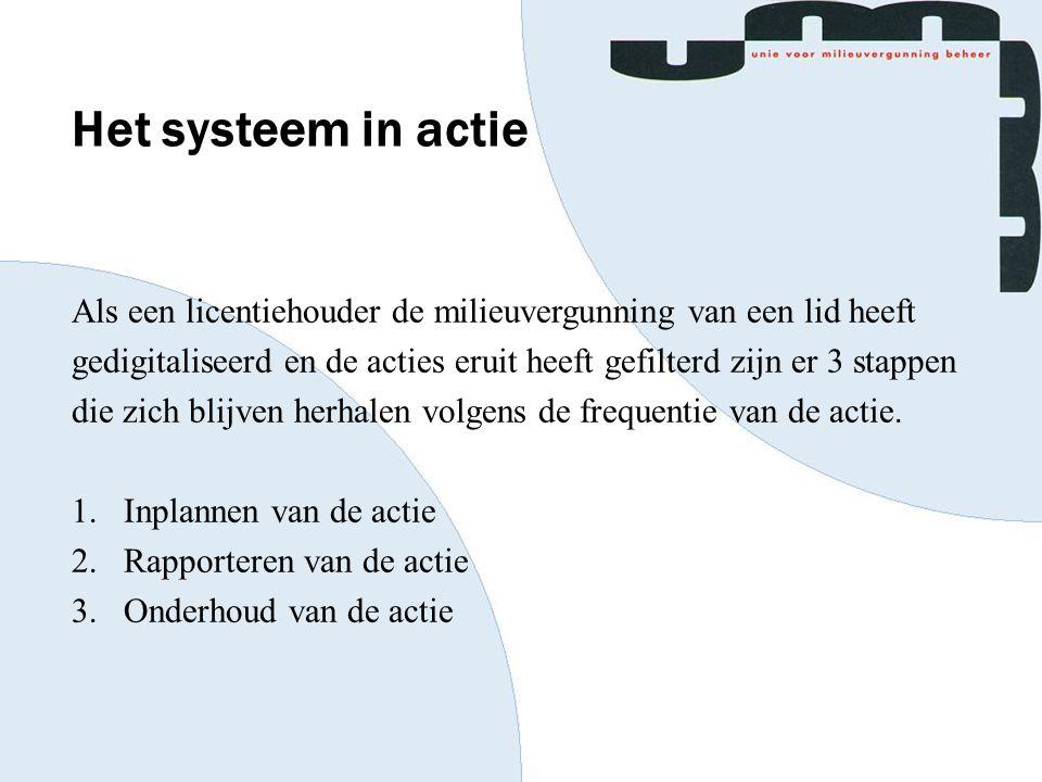 Het systeem in actie Als een licentiehouder de milieuvergunning van een lid heeft gedigitaliseerd en de acties eruit heeft gefilterd zijn er 3 stappen