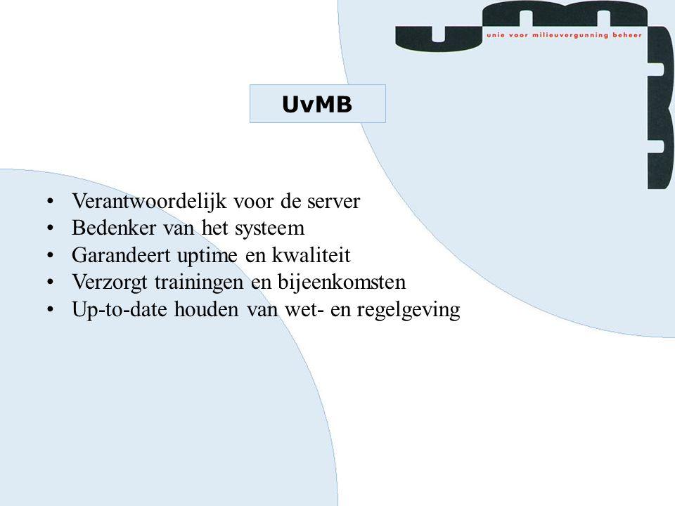UvMB Verantwoordelijk voor de server Bedenker van het systeem Garandeert uptime en kwaliteit Verzorgt trainingen en bijeenkomsten Up-to-date houden va