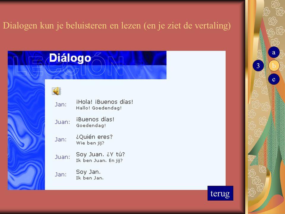 Dialogen kun je beluisteren en lezen (en je ziet de vertaling) terug 3 a b c