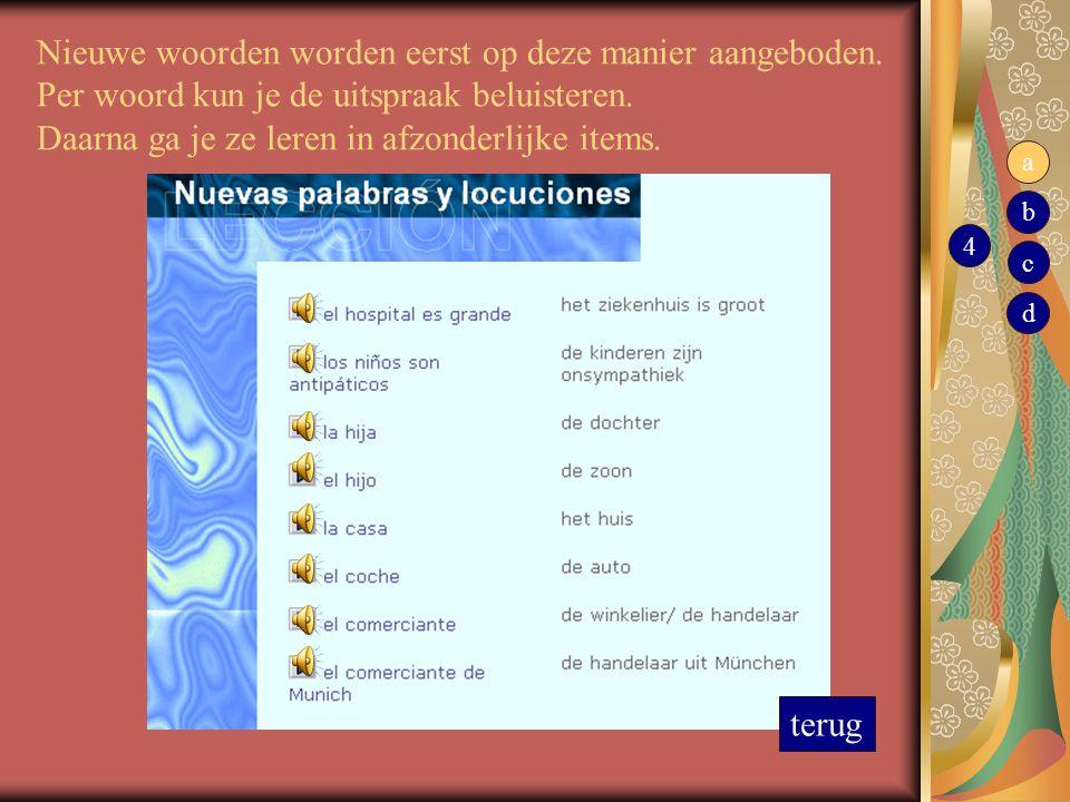 Nieuwe woorden worden eerst op deze manier aangeboden. Per woord kun je de uitspraak beluisteren. Daarna ga je ze leren in afzonderlijke items. terug