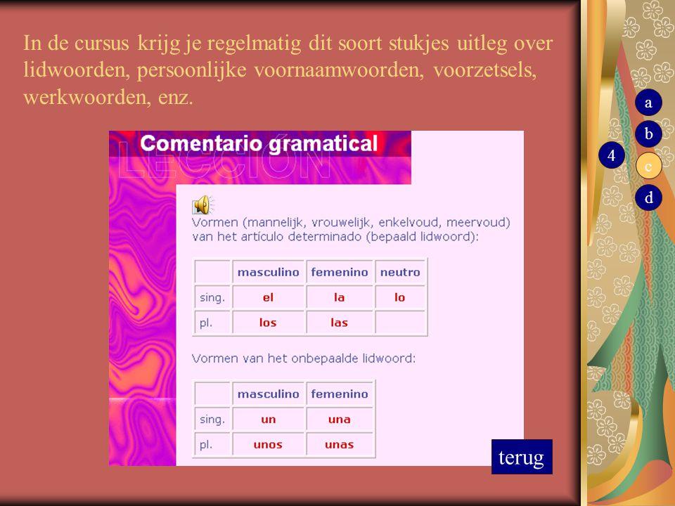 In de cursus krijg je regelmatig dit soort stukjes uitleg over lidwoorden, persoonlijke voornaamwoorden, voorzetsels, werkwoorden, enz. terug 4 b c d