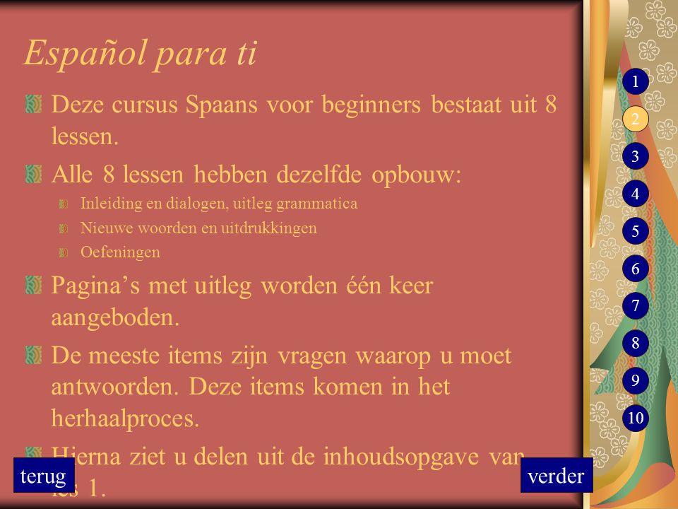 Español para ti Deze cursus Spaans voor beginners bestaat uit 8 lessen. Alle 8 lessen hebben dezelfde opbouw: Inleiding en dialogen, uitleg grammatica