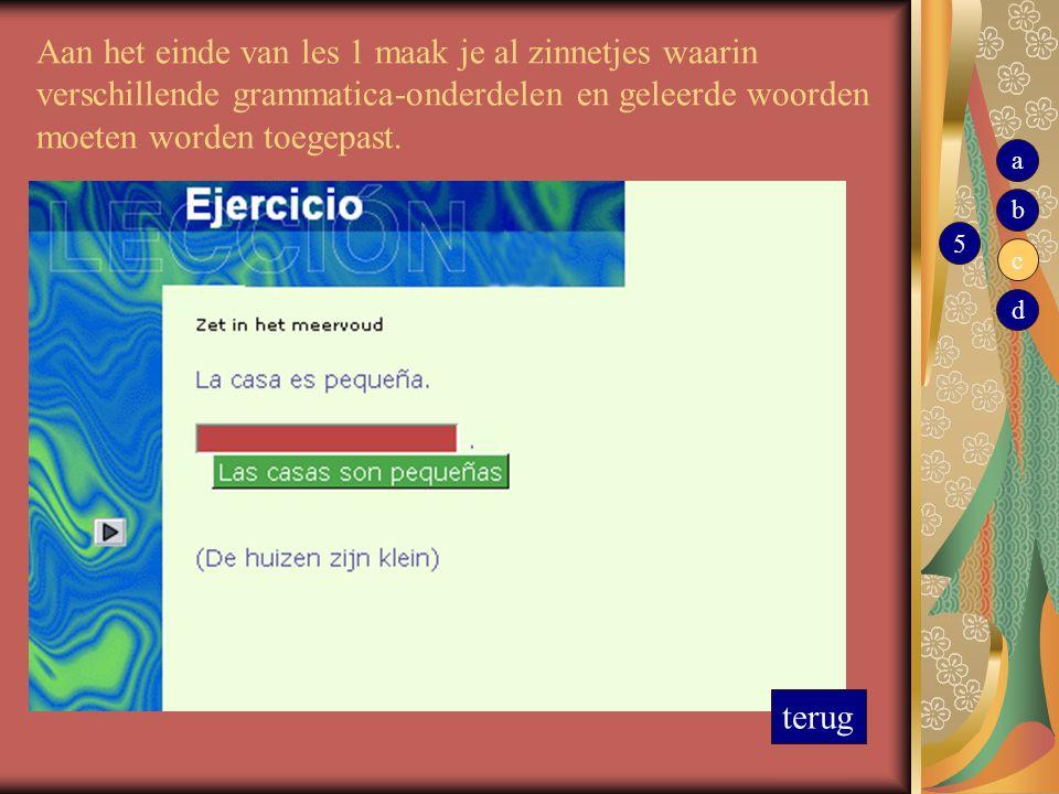 Aan het einde van les 1 maak je al zinnetjes waarin verschillende grammatica-onderdelen en geleerde woorden moeten worden toegepast. terug 5 b c d a