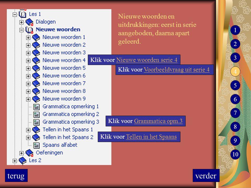 Nieuwe woorden en uitdrukkingen: eerst in serie aangeboden, daarna apart geleerd. Klik voor Nieuwe woorden serie 4Nieuwe woorden serie 4 Klik voor Gra