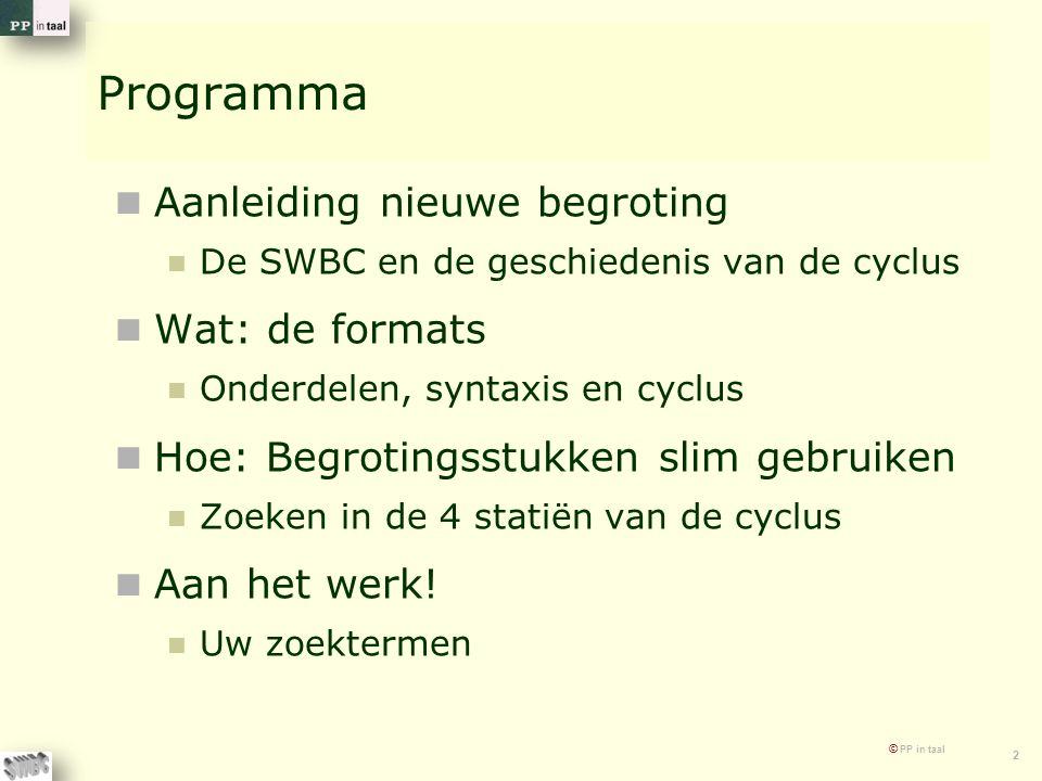 © PP in taal 2 Programma Aanleiding nieuwe begroting De SWBC en de geschiedenis van de cyclus Wat: de formats Onderdelen, syntaxis en cyclus Hoe: Begr