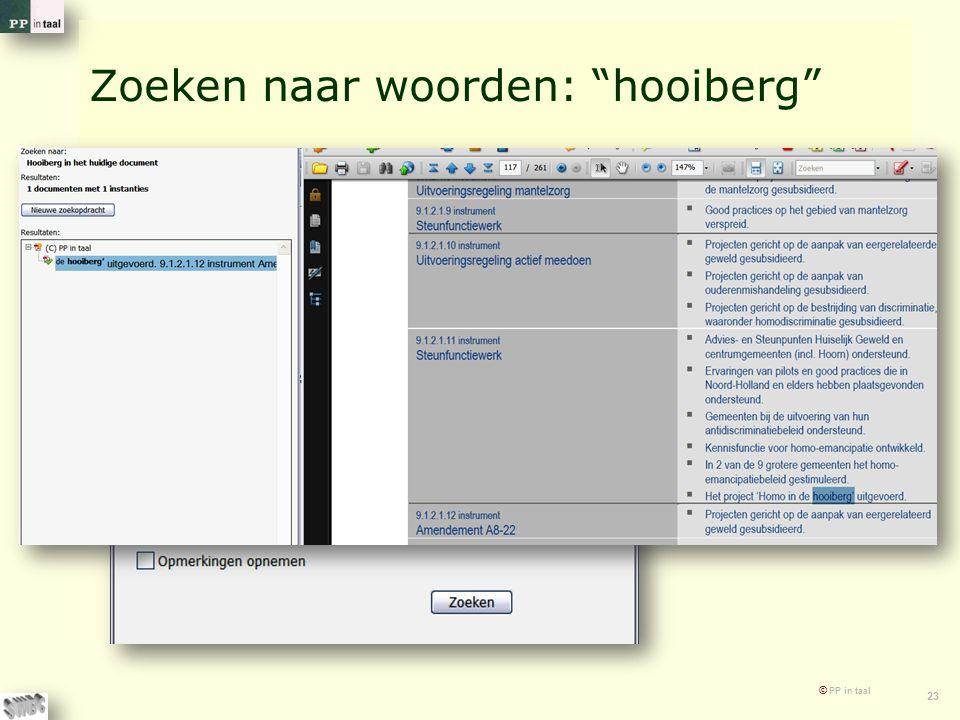 """© PP in taal 23 Zoeken naar woorden: """"hooiberg"""""""