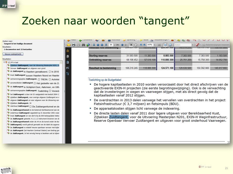 """© PP in taal 25 Zoeken naar woorden """"tangent"""""""