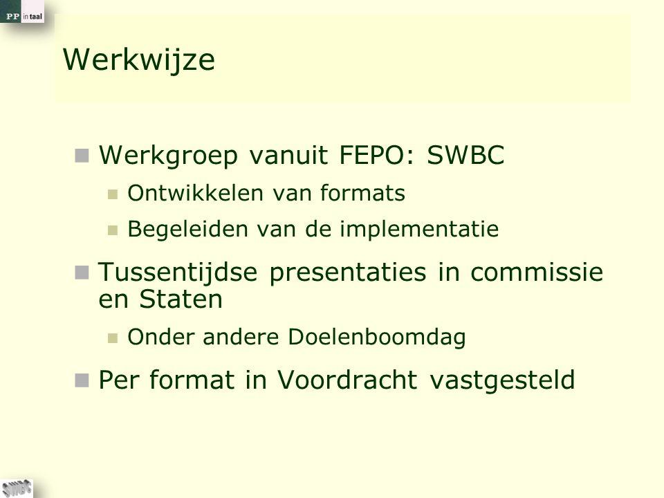 Werkwijze Werkgroep vanuit FEPO: SWBC Ontwikkelen van formats Begeleiden van de implementatie Tussentijdse presentaties in commissie en Staten Onder a