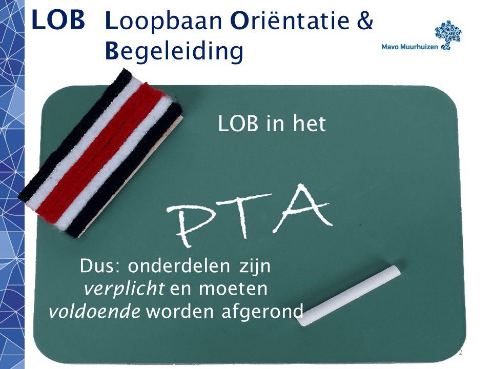 disclaimer2 LOB Loopbaan Oriëntatie & Begeleiding LOB in het Klas 2 LOB in het Dus: onderdelen zijn verplicht en moeten voldoende worden afgerond